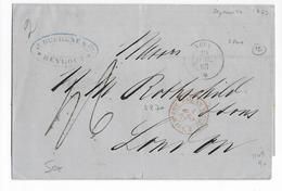 """1863 - MARITIME - LETTRE De BEYROUTH (LIBAN) => LONDON Par PAQUEBOT FRANCAIS """"NEVA"""" + ENTREE AMBULANT En FRANCE Via SUEZ - Liban"""
