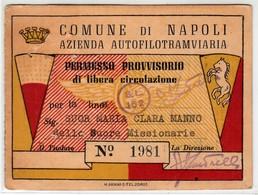 TRAM TRAMWAYS AZIENDA AUTOFILOTRAMVIARIA DI NAPOLI - TESSERA BIGLIETTO TICKET DI ABBONAMENTO 1951 - Season Ticket