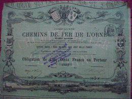Obligation De 500 Frs  Chemins De Fer De L'ORNE 1870  /  Coupons - Otros
