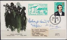 Cd5002 BRITAIN 1973, Cover, Livingstone,  Signed By Livingstone's Grandson & High Commissioners Of Zambia & Mala - 1952-.... (Elizabeth II)
