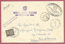 PIEGO VG ITALIA - ORDINARIO TASSA CARICO - Scuola Media - 11 X 17 - ANN. 1970 SAN DANIELE DEL FRIULI - RIVE D'ARCANO - 6. 1946-.. Repubblica