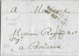 1785 - MARITIME - LETTRE De CAP FRANCAIS ST DOMINGUE (HAÏTI) => BORDEAUX - ENTREE MARSEILLE - Poste Maritime