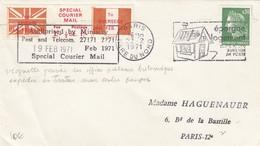 LETTRE. 1971 PARIS GARE DU NORD. AVEC VIGNETTE SPECIAL COURRIER MAIL. GREVE DES POSTES BRITANNIQUES 1971 - Postmark Collection (Covers)