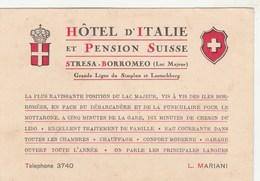 Hôtel D'Italie & Pension Suisse - STRESA-BORROMEO - Carton Publicitaire 97x140 Dos Vierge - Italia