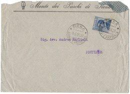 AL106   Regno 1920 - Busta Monte Paschi Di Siena Per Pontedera, Michetti 25c - Storia Postale