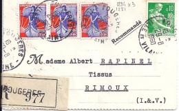 TP N° 1234x3 + DIVERS SUR LETTRE RECOMMANDEE DE 1960 - 1959-60 Marianne à La Nef