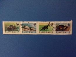 1996 SLOVENIA SLOVENIJA FRANCOBOLLI USATI IN STRISCIA STAMPS USED WWF TARTARUGHE - Slovenia