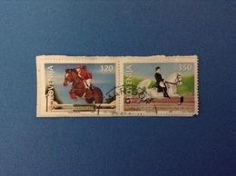 1999 SLOVENIA SLOVENIJA FRANCOBOLLI USATI DITTICO STAMPS USED CAVALLI HORSES - Slovenia