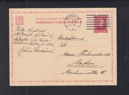 Czechoslovakia Stationery 1932 Prague To Germany - Tschechoslowakei/CSSR