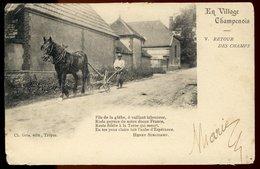 Carte Précurseur - En Village Champenois - Retour Des Champs - Publicité Chocolat  Jos. Bieswal - Poème Henry Surchamp - Champagne-Ardenne