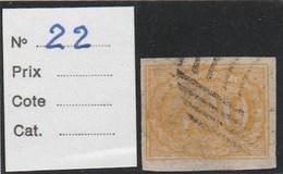 BRESIL 1854 - Yvert N° 22 - Oblitéré (430 R. Jaune) - Brazil