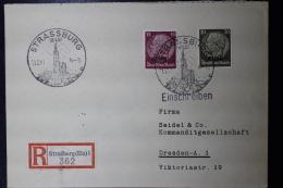 Elsass Alsace :  Einschreiben Cover Strassbourg 1941 - Besetzungen 1938-45