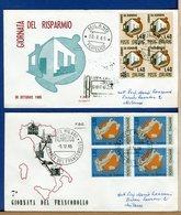 ITALIA - FDC 1965 - RISPARMIO POSTALE - GIORNATA DEL FRANCOBOLLO   - QUARTINA - Raccomandate Con Timbri Arrivo - 6. 1946-.. Repubblica