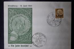 Elsass Alsace :  Strassbourg Ein Jahr Deutsch , Ein Jahr Frei 19-6-1941 Cover - Occupation 1938-45