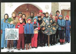Maximum-AK Bergün, Gruppenbild Sternsinger, Volksbrauch - Cartes Postales