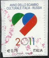 ITALIA REPUBBLICA ITALY REPUBLIC 2011 ANNO DELLO SCAMBIO CULTURALE ITALIA-RUSSIA € 0,75 USATO USED OBLITERE' - 6. 1946-.. Repubblica
