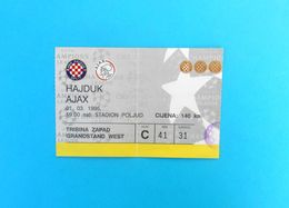 HAJDUKv AFC AJAX - 1995. UEFA CHAMPIONS LEAGUE Football Match Ticket Billet Soccer Billet Fussball Holland Netherland - Match Tickets