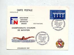 Carte Postale 2.20 Europa Cachet Strasbourg Championnat Natation Illustré Nage - Postal Stamped Stationery