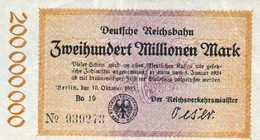 Notgeld Reichsbahn 200 Millionen Mark  1923 - [ 3] 1918-1933 : Repubblica  Di Weimar