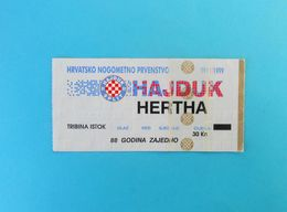 HAJDUK V HERTHA BSC Berlin - 1999. Friendly Football Match Ticket * Billet Soccer Fussball Foot Germany Deutschland - Match Tickets