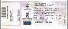Ticket Entrée Rugby Hcup Racing / Munster Stade De France 13/10/2012 - Rugby