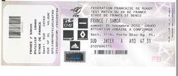 Ticket Entrée Rugby Test Match France Samoa Stade De France 24/11/2012 - Rugby