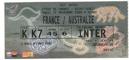Ticket Entrée Rugby Test Match France Australie Stade De France 22/11/2008 - Rugby