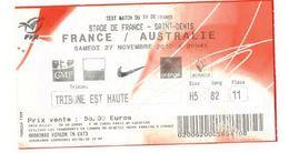 Ticket Entrée Rugby Test Match France Australie Stade De France 27/11/2010 - Rugby