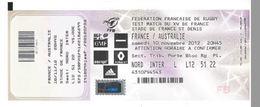 Ticket Entrée Rugby Test Match France Australie Stade De France 10/11/2012 - Rugby