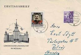 TP N° 123 Et 163( Y&T ) Sur Enveloppe 1er Jour De Gera Pour La Suède - Cartas