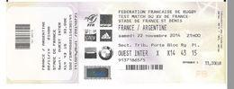 Ticket Entrée Rugby Test Match France Argentine Stade De France 23/11/2013 - Rugby