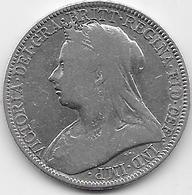 Grande Bretagne - 2 Schillings 1899 - Argent - TB - 1816-1901 : Frappes XIX° S.