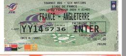 Ticket Entrée Rugby Tournoi Des 6 Nations France / Angleterre Stade De France 23/02/2008 - Rugby
