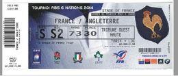 Ticket Entrée Rugby Tournoi Des 6 Nations France / Angleterre Stade De France 01/02/2014 - Rugby