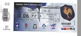 Ticket Entrée Rugby Tournoi Des 6 Nations France / Italie Stade De France 09/02/2014 - Rugby