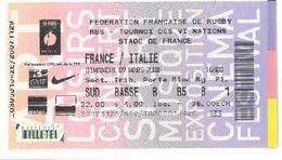 Ticket Entrée Rugby Tournoi Des 6 Nations France / Italie Stade De France 09/03/2008 - Rugby