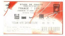 Ticket Entrée Rugby Tournoi Des 6 Nations France / Italie Stade De France 14/03/2010 - Rugby