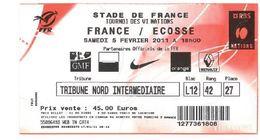 Ticket Entrée Rugby Tournoi Des 6 Nations France / Ecosse Stade De France 05/02/2011 - Rugby