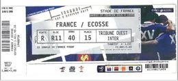 Ticket Entrée Rugby Tournoi Des 6 Nations France / Ecosse Stade De France 07/02/2015 - Rugby