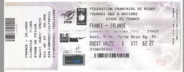 Ticket Entrée Rugby Tournoi Des 6 Nations France / Irlande Stade De France 11/02/2012 - Rugby