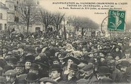 TROYES EN CHAMPAGNE MANIFESTATION DES VIGNERONS CHAMPENOIS DE L'AUBE LA FOULE AU MOMENT DES DISCOURS 10 - Troyes