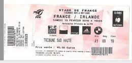 Ticket Entrée Rugby Tournoi Des 6 Nations France / Irlande Stade De France 13/02/2016 - Rugby