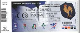 Ticket Entrée Rugby Tournoi Des 6 Nations France / Irlande Stade De France 15/03/2014 - Rugby
