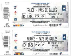 Ticket Entrée Rugby Tournoi Des 6 Nations France / Pays De Galles Stade De France 09/02/2013 (2 Places) - Rugby