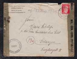 Deutsches Reich 1945 Überroller Zensur Censor Brief Hermsdorf 2.4.45 Nach Erlangen - Allemagne