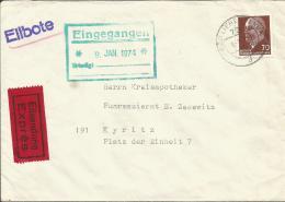 DDR 938 EF Auf Express Beleg Mit Bahnpoststempel 1974 Bad -Liebenwerda-Kyritz - DDR