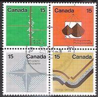 Canada 1972 Sc#585a  Earth Sciences Used Block   2016 Scott Value $6.50 - Oblitérés