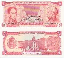 Venezuela  P-70  5 Bolivares  1989  UNC - Venezuela