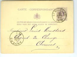 Carte Correspondance AS CàD Saint Nicolas Et Anvers 1878 Henderickx De Sutter Entier Postal Postwaardestuk - Entiers Postaux