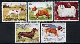 Sharjah 1972 Dogs ANIMALS CORGI BERNARD POINTER DACHSHUND MALTESE-TERRIER Set Of 5 U/m (Mi 1024-28A) - Sharjah